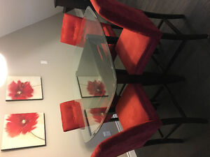 Bar height glass table + 4 dining chairs