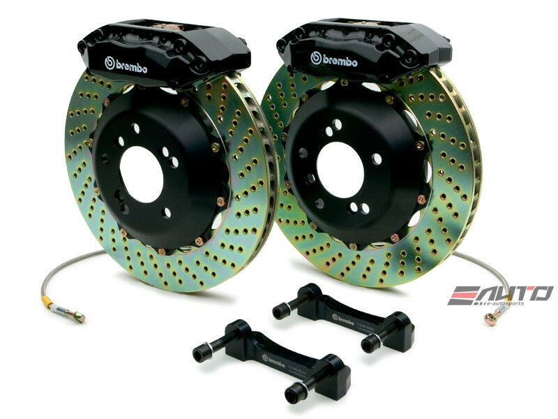 Brembo Front Gt Brake Bbk 4 Piston Black 328x28 Drill Integra 90-01 4x100 Da Dc