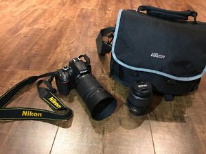 Nikon D3200 body with 18-55mm lens and 55-200mm VR lens