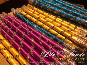 Up for rent are beautifully decorated Dandiya sticks for Mehndi