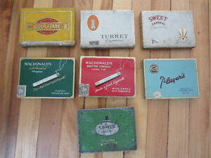 Lot of 7 Antique Cigarette Tins Advertising Collectibles