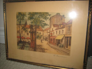 Framed antique painting