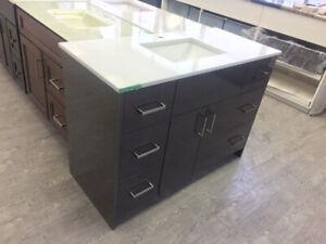 High Gloss Vanity + Quartz Top + sink Full Set!!