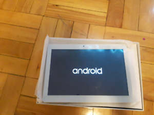 "White 10.1"" 32gb touch screen tablet in box."