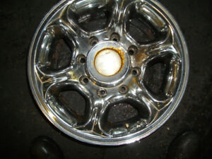 chrome alloy ford 8 bolt rims , american racing