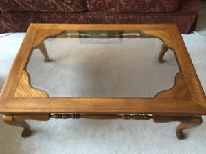 Oak and glass coffee tables (3 different sizes)
