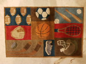 Sports themed rug
