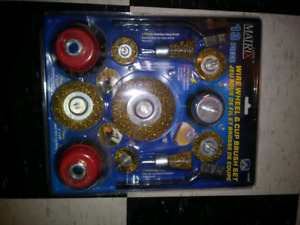13 piece wire wheel and cup brush set