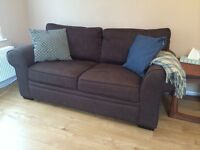 Chocolate Brown Textured Weave Two Seater Sofa