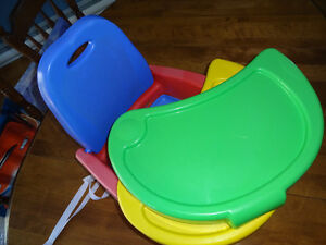 strap-on booster seat with removable tray(s)