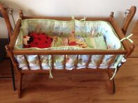 Solid wood cradle and bedding set
