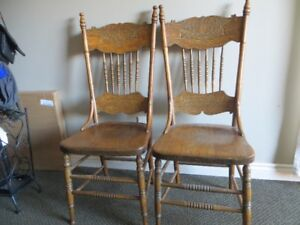 Antique oak pressed back chairs