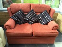 Two seater red M&S sofa - rarely used, excellent condition