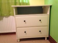 White ikea 2 drawer unit with shelf (perfect for baskets) ideal for nursery