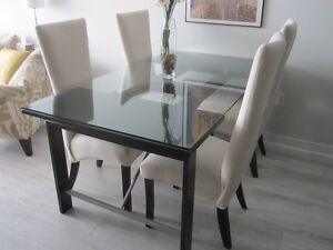 DINING ROOM TABLE SET - solid wood & glass - ITALIAN IMPORT
