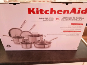 Kitchen Aid 10 Piece Stainless Steel Pots and Pan set