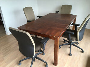 2 office desks and boardroom table