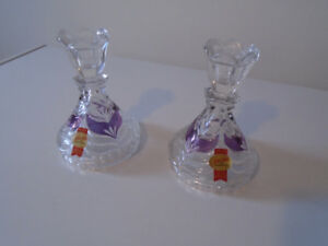 2 ANNA HUTTE 24% LEAD CRYSTAL SINGLE CANDLE STICK HOLDERS