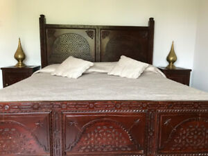 Solid wood king size bed with mattress and 2 night tables