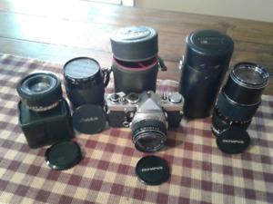 35mm olympus  camera and lens
