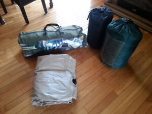 Woods 4 person tent, double air mattress & 2 sleeping bags
