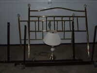 Double brass bed , frame and matching lamp