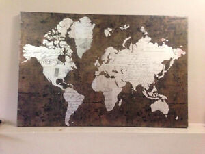 World Map Print, Brown and Metalic