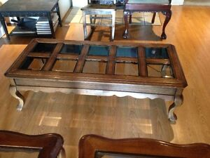 Solid Wood Coffee & End Tables - Smoked Bevelled Glass Cambridge Kitchener Area image 5