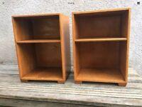 Pair Of Vintage 1950s/1960s Oak Bedside Cabinet / Bookshelves