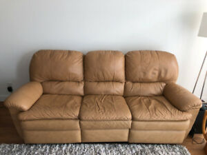Leather Recliner Sofa - Like New