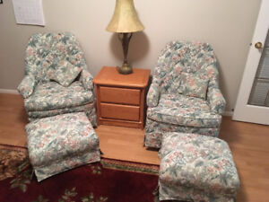 Matching Arm Chair/Rockers with Stools