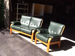 Teak and green leather couch and chair