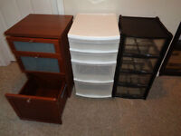 Bedside Table and two plastic storage drawers