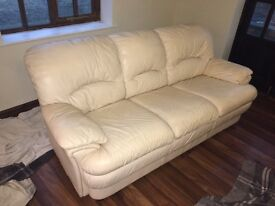 Sofa - Cream leather 3 seater sofa
