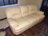 Sofa - Cream leather 3 seater sofa