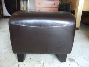 real leather curved foot stool