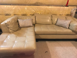 Genuine Leather Sectional - cream colour