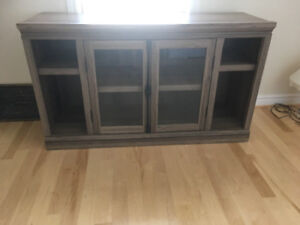 """57"""" TV stand, holds up to 70"""" tv with moveable shelves"""