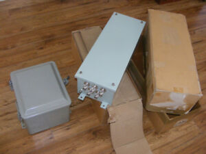 THREE (3) NEW METAL ELECTRICAL ENCLOSURES - $50.00