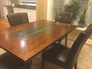 Dark Oak Dining Table and 6 Leather Parson Chairs