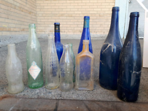 antique and blue bottles.