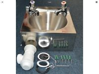 Small hand wash sink with taps and drainage