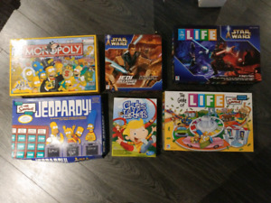 Board games - Simpsons, star wars, life, monopoly