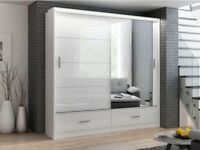 WOW OFFER! BRAND NEW MARSYLIA 3 DOOR SLIDING WARDROBES IN HIGH GLOSS BLACK OR WHITE COLOURS
