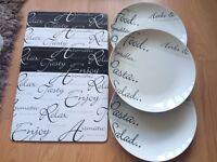 Script Kensington plates and mats