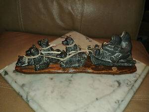 Edmund Wolf Limited Edition #253 soapstone dogsled carving.