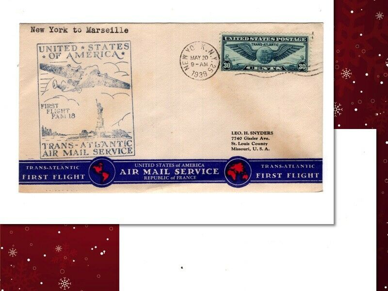 USA, First Flight Cover, To France , 30 Cent Winged Globe, 1939 412 - $1.00