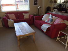 2 x Red 2.5 Seater Sofas Oatley Hurstville Area Preview