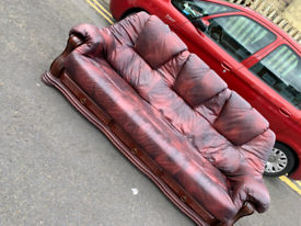 Oxblood 3 seater sofa with drawers