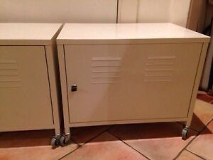 Pr White Metal Lockers on Wheels with Adjustable Shelves&Key Coogee Eastern Suburbs Preview